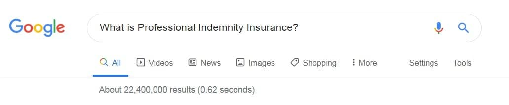 Google result for what is professional indemnity insurance